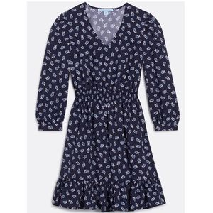 NWT Draper James Floral Peasant A-Line Dress Navy